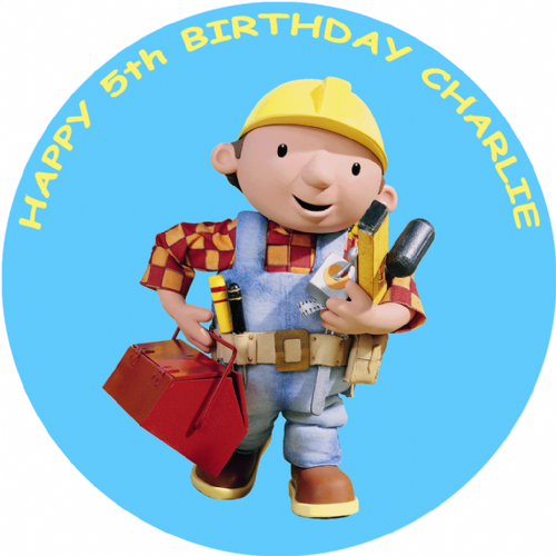 BOB THE BUILDER EDIBLE ROUND PRINTED BIRTHDAY CAKE TOPPER DECORATION